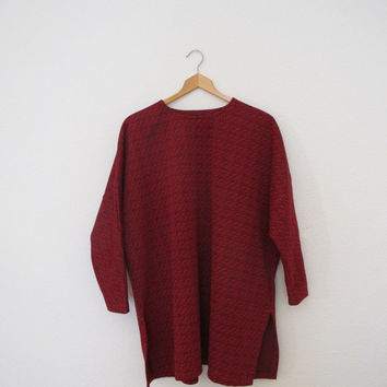 Paisley Oversized Tunic Dress Boxy Fit 3/4 length sleeves Dark Red Vintage 60s
