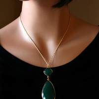 Huge Green Onyx Large Pendant Necklace, Emerald Green, Green Gemstone, May Birthstone,Gold Vermeil, Witches of east end inspired