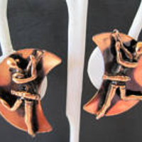 Ballet Dancer Earrings, Mid Century Copper, Vintage Clip Ons