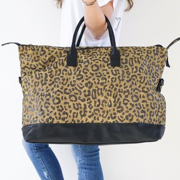 Oversized Leopard Travel Tote