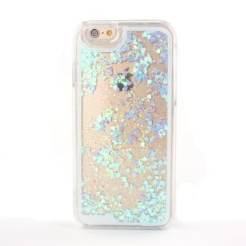Happy Hours® Luxury Bling Flow Liquid Sand Glitter Heart Quicksand Back Case For iPhone 6 Plus/ iPhone 6S Plus 5.5 Inch Sparkle Dynamic Drift Sand Clear Hourglass Cover , Skyblue