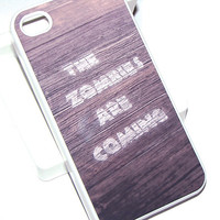 SALE wood print iphone 4 case plastic case -  Ready to ship - White case - Holiday Sale - Christmas Sale - zombies are coming