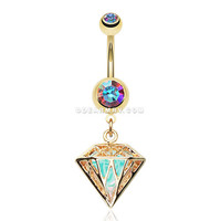 Golden Urban Iridescent Diamond Belly Button Ring (Aurora Borealis)
