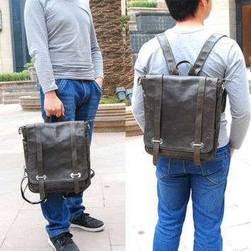 Handtailor Cyan Gray Wax Cowhide Leather Briefcase. Satchel Bag. Backpack. Mens bag-81565