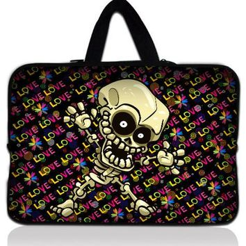 "Skull 10"" Laptop Sleeve Bag Case + Handle For Apple New iPad 3 / HP Touchpad"