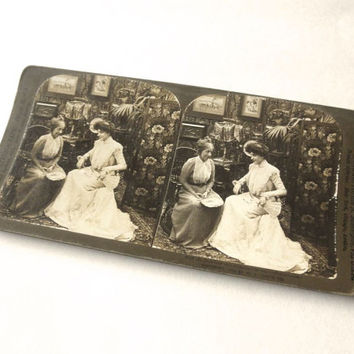 Wedding Night Chat Stereograph Card 1903 Antique Sepia Photo Gibson Girl Stereoscopic Stereoview Stereo Card with Mother