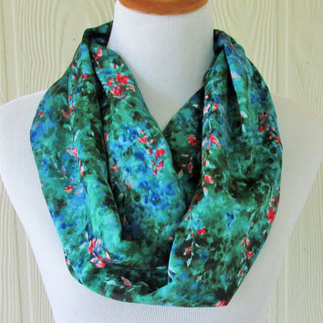 Green Floral Infinity Scarf , Colorful Women's Scarf , Circle Scarf, Loop Scarf, Necklace Scarf, Scarves, Eclectasie