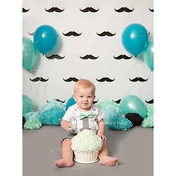 Printed Backdrop Mustache Party Background - 6841