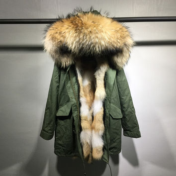Winter Jacket Women Army Green long Parka Coats Real Large Raccoon Fur Collar   Patch  Coyot Fur Lining Hooded Outwear