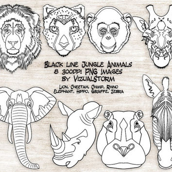 Black Line Safari Animal Clipart, Black and White Animal Clip Art, Outlined Zoo Animals For DIY Coloring Books, Jungle Animal Line Drawings