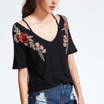 Fashion cotton black flower embroidery V neck top loose blouse