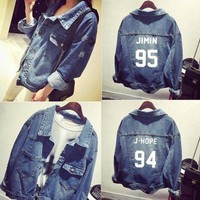 2018 New arrival kpop Bts bangtan boys Jimin jhope jungkook women bomber winter Denim Jacket