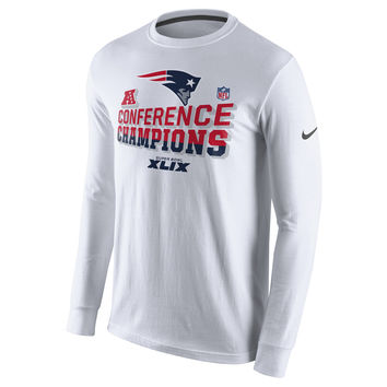Mens New England Patriots Nike White 2014 AFC Champions Trophy Collection Locker Room Long Sleeve T-Shirt