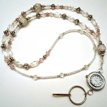 Splash of Pink Swarovski Crystal Watch Pink Clear Glass Beaded Lanyard ID Badge Holder