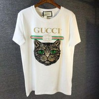 GUCCI Stylish Women Men Loose Cat Embroidery Sequin Print T-Shirt Top Blouse White