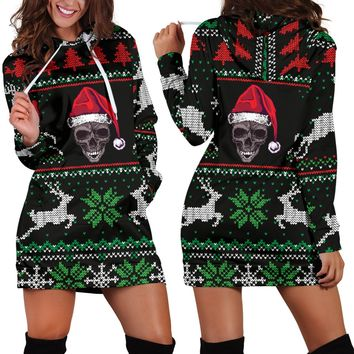 Ugly Christmas Santa Skull Black Hoodie Dress