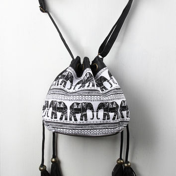 Indian Elephant Double Drawstring Bucket Bag