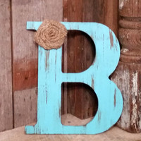 "9.5"" Rustic Aqua Letter with burlap flower shabby chic photo prop wedding decor gift A B C D E F G H I J K L M N O P Q R S T U V W X Y Z"