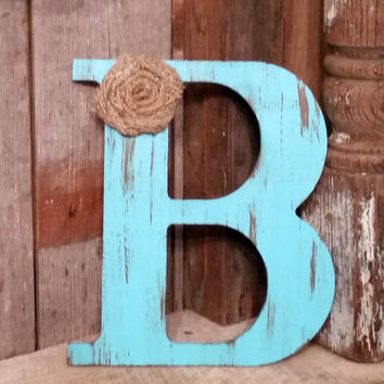 "24"" Rustic Aqua Letter with burlap flower shabby chic photo prop wedding decor gift A B C D E F G H I J K L M N O P Q R S T U V W X Y Z"