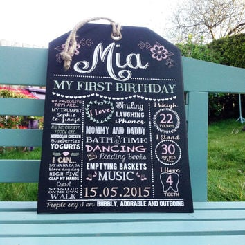 First Birthday Chalkboard effect Sign- Customised Unique Gift - great photo prop - new baby gift, first birthday gift, Godchild gift