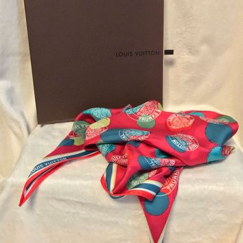 NEW LOUIS VUITTON LIMITED EDITION Pink Silk TRUNKS & BAGS Scarf - SOLD OUT!!