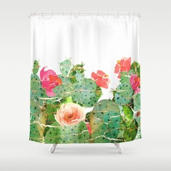 scratched cactus Shower Curtain by clemm