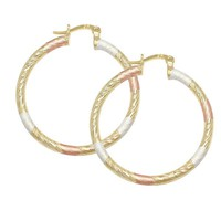 Gold Plated 18k Three Tone Tubular Twisted Traditional Hoop Earrings Lady 35mm