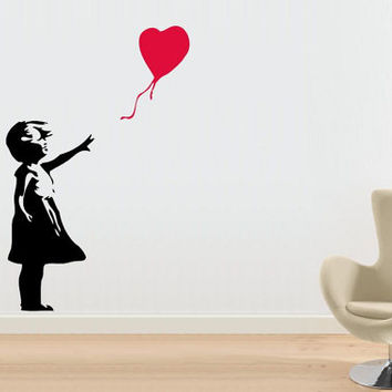 Bansky Art Large Wall Decal Made To order Fast Production Shipping within 24 hours...Several Color Opt