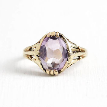 Vintage Art Deco 10k Yellow Gold Amethyst Filigree Ring - Antique Size 4 1/2 Oval Purple 1 + CT Gem Dated 1924 M.B. Bryant & Co Fine Jewelry