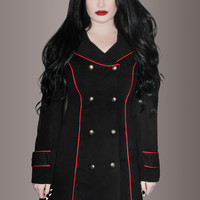 Black Vintage Military Coat with Red Piping