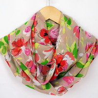 Spring infinity Scarf, Floral Flower Print, Beige Scarf, Colorful Chiffon Lightweight Soft Infinity Scarf