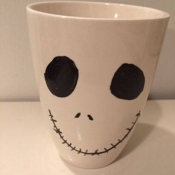 Jack Skellington, Jack Mug, Halloween, Hand Painted, Coffee Cup, Coffee Lover, Holiday, Stocking Stuffer, Holiday Gift, Ceramic, Christmas