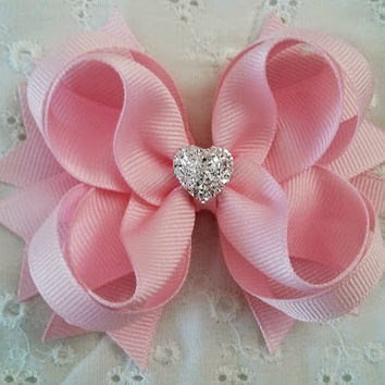 Light Pink Handmade Ribbon Hair Bow~ Light Pink Stacked Boutique Hair Bow with Sparkly Heart~ Light Pink Hair Bow~ Gift for Girl~ Photo Prop