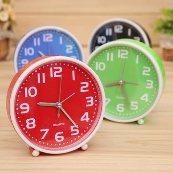 New Fashion Candy Color Needle Alarm Clock Home Portable Cute Mini Cartoon Dial Number Round Desk  for Kids Children  Gift Clock