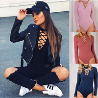 V-Neck Cross Strap Long Sleeve Bodysuit with Choker