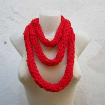 Chunky Circle Scarf,Crochet infinity Scarf,Finger Knitting Scarf
