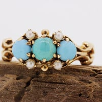 Antique Victorian Ring Persian Turquoise Ring Dainty Pearl Ring 14k Rose Gold Ring Gemstone Ring Vintage Estate Ring Promise Ring Size 5.5