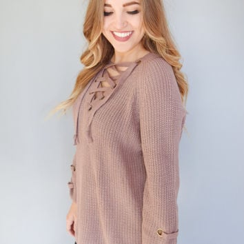 Evergreen Lace Up Sweater Dusty Plum