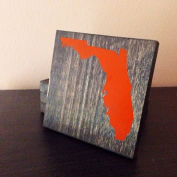Customizable Florida Wood Coasters, Set of 4, Stained and Hand Painted, Personalize