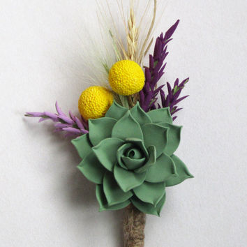 rustic boutonniere with succulent, craspediya, ear of wheat. Fall wedding. Accessories for the groom