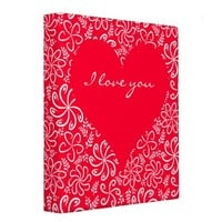 Red Heart with flowers Binder