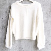 fuzzy knit cropped sweater - more colors
