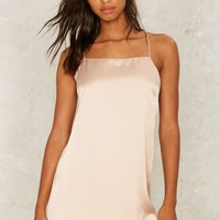 Crossed Off Sleep Slip Dress - Beige