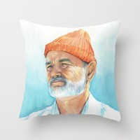 Steve Zissou Art | Watercolor Portrait Throw Pillow by Olechka