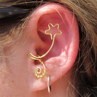 Star Shaped Gold Wire Tragus Clip by TheHempChick on Etsy