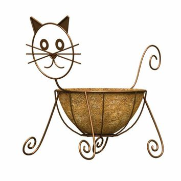 Panacea™ 86655 Cat Design Planter with Coco Liner, Rust