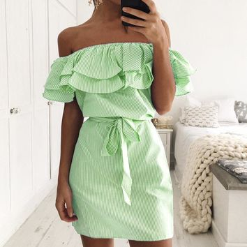 Green Off-Shoulder Flounced Striped Dress