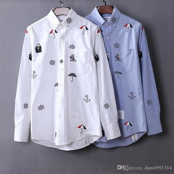 Colette TB classic men Embroidery ShirtS fashion long sleeve casual shirts high quality USA designer TB soft cotton shirt