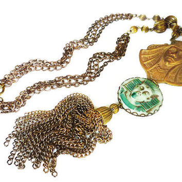 Vintage Egyptian Pharaoh Green Glass Tassel Necklace - Gold Tone, Fringe Necklace, Gold Tone Chains, King Tut, Vintage Necklace