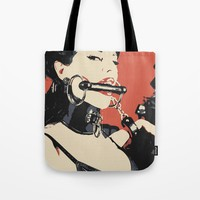 Welcome to the Dungeon... BDSM erotic, sexy brunette girl in latex gagged, fetish bondage art Tote Bag by hmdesignspl